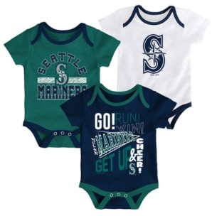 Outerstuff Baby Seattle Mariners Newest Rookie 3 Piece Bodysuit Set