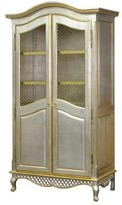 The Well Appointed House Grand Armoire with Wire Mesh Doors with Silver and Gold Gilding