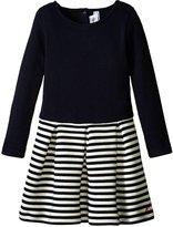 Petit Bateau Dress With Stripe Skirt (Toddler/Kid) - Navy White - 4