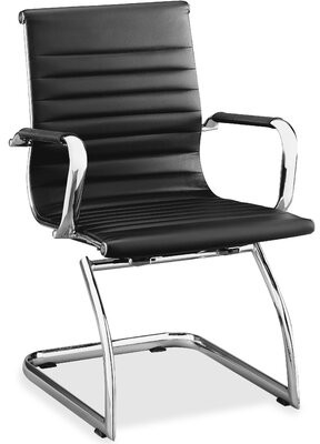 Lorell Leather Guest Chair Seat Color: Black