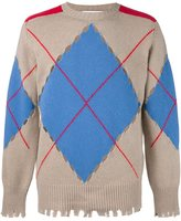 MSGM perforated argyle jumper - men - Polyamide/Wool - XS