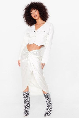Nasty Gal Womens Truly Madly Deeply Satin Midi Skirt - White - 14