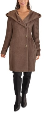 Cole Haan Hooded Teddy Asymmetrical Coat