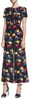 Diane von Furstenberg Short-Sleeve Cropped Flared Silk Jumpsuit, Black