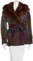 Dolce & Gabbana Sable-Trimmed Wool Coat
