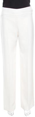 Armani Collezioni Cream High Waist Wide Leg Trousers S