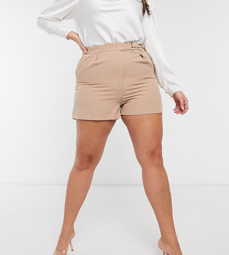 Saint Genies Plus tailored short co-ord in camel
