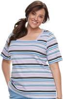 Croft & Barrow Plus Size Squareneck Elbow Sleeve Tee