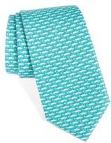 Vineyard Vines Men's Blue Fish Print Silk Tie