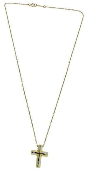Tiffany & Co. 18K Yellow Gold And Platinum Elsa Peretti Diamond Cross Necklace