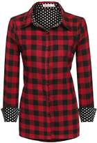 Meaneor Women's Fashion Casual Style Comfy Loose Fit Long Sleeve Cotton Plaid Flannel Dress Shirt Blouse S