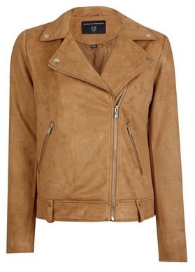 Dorothy Perkins Womens Tan Suedette Biker Jacket