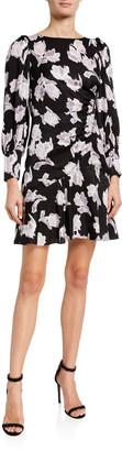 Rebecca Taylor Long-Sleeve Ikat Blossom Short Dress