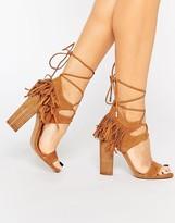 KENDALL + KYLIE Kendall & Kylie Saree Tan Suede Ghillie Heeled Sandals