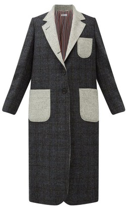 Thom Browne Patch-pocket Checked Wool-tweed Coat - Grey