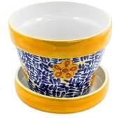 Artisan Crafted Ceramic Flower Pot from Guatemala, 'Lirio Acuatico'