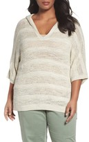 Plus Size Women's Caslon Open Work Cotton Hoodie Sweater