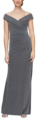Alex Evenings Off-the-Shoulder Fit-and-Flare Long Dress (Gunmetal) Women's Dress