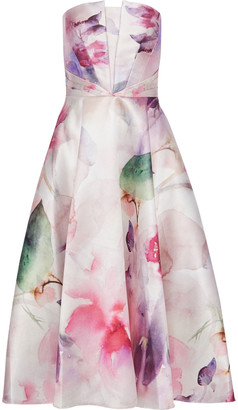 Marchesa Strapless Floral-print Satin-pique Midi Dress