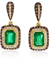 Effy Jewelry Effy Brasilica 14K Yellow Gold Emerald and Diamond Earrings, 2.51 TCW