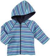 Zutano Striped Zip Hoodie (Baby) - Periwinkle-6 Months