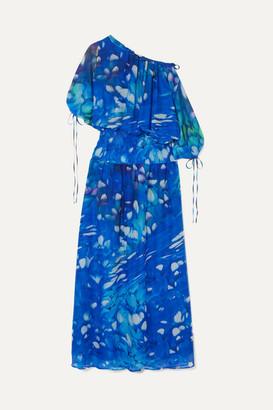 Eywasouls Malibu Evelyn Shirred Printed Chiffon Maxi Dress - Azure