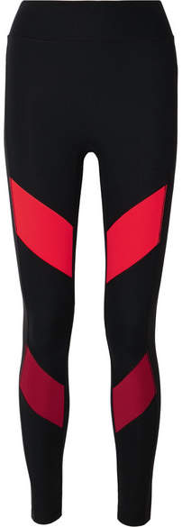 All Access Record Moto Paneled Stretch Leggings - Red