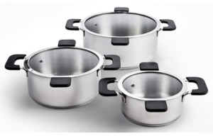 Ozeri 6-Piece Stainless Steel Inductive Pot Set with Hands-Free Glass Straining Lids