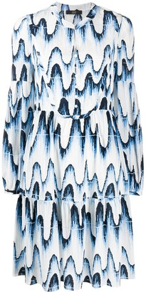 Steffen Schraut Abstract Wave-Print Button-Through Dress