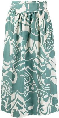 Alysi Abstract-Print Mid-Length Skirt