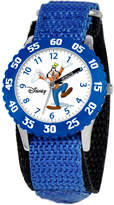 Disney Kid's Goofy Time Teacher Blue Fabric Strap Watch 31mm W000148