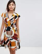 Liquorish Frill Front Dress In Geo Print