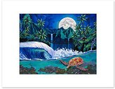 """11""""x14"""" Sea Turtle Collage Painting Print """"Unreal Teal"""" with 16""""x20"""""""" Matte Border for Tropical Beach Wall Decor, by Patrick Parker Art, Hawaiian Surf Artist"""