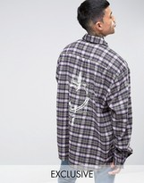 Reclaimed Vintage Oversized Flannel Shirt With Raw Hem