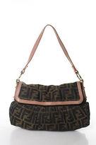 Fendi Brown Monogram Canvas Leather Strap Shoulder Handbag