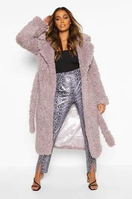boohoo Curly Faux Fur Belted Longline Coat