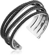 """Cole Haan Leather Items"""" Black Inlay Wavy Cuff Bracelet"""