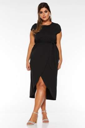 Quiz Curve Black Cap Sleeve Tie Waist Midi Dress