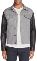 J Brand Scorpius Leather Sleeve Denim Jacket