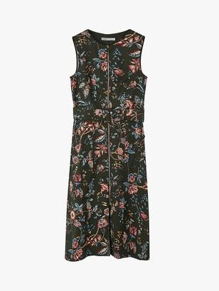 Oasis Farah Zip Floral Midi Dress, Multi