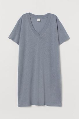 H&M Linen-blend T-shirt Dress - Gray