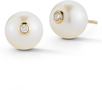 Mizuki Genuine Pearl & Diamond Stud Earrings
