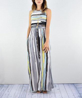 Egs By Eloges egs by eloges Women's Maxi Dresses Multi - Gray & Yellow Abstract Stripe Pocket Maxi Dress - Women & Plus