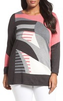 Nic+Zoe Plus Size Women's Sunbent Cotton Blend Sweater