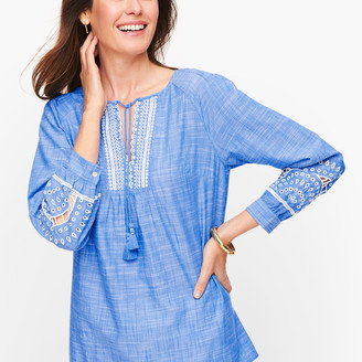 Talbots Embroidered Tassel Tie Top