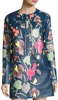 Diane von Furstenberg Floral-Print Leather Cropped Jacket, Blue Multicolor