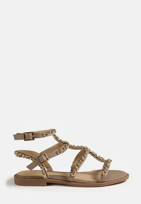 Missguided Taupe Chain Gladiator Sandals