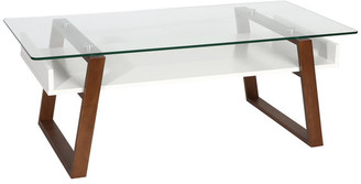 Edgemod Segovia Glass Top Coffee Table, Walnut