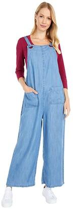 Mod-o-doc Cross Hatch Tencel Denim Patch Pocket Overall (Blue) Women's Jumpsuit & Rompers One Piece