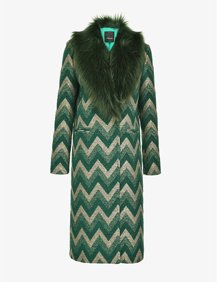 Pinko Libra chevron-jacquard coat with faux-fur collar